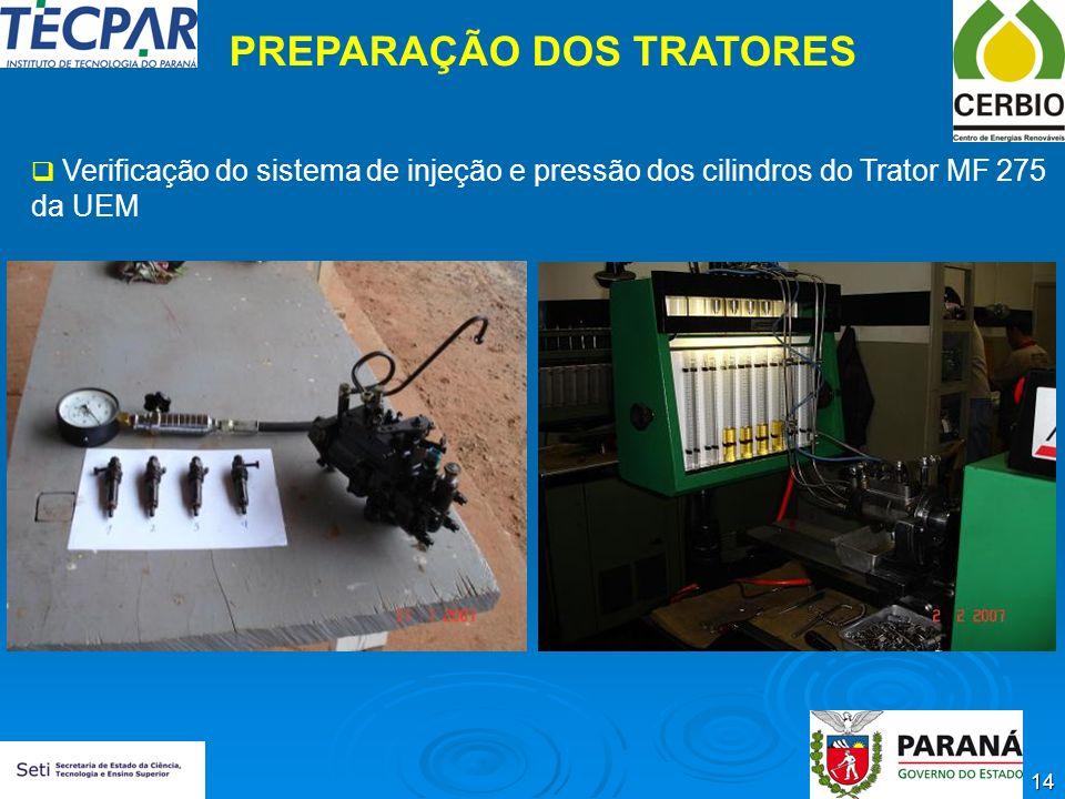 14 PREPARAÇÃO DOS TRATORES Verificação do sistema de injeção e pressão dos cilindros do Trator MF 275 da UEM