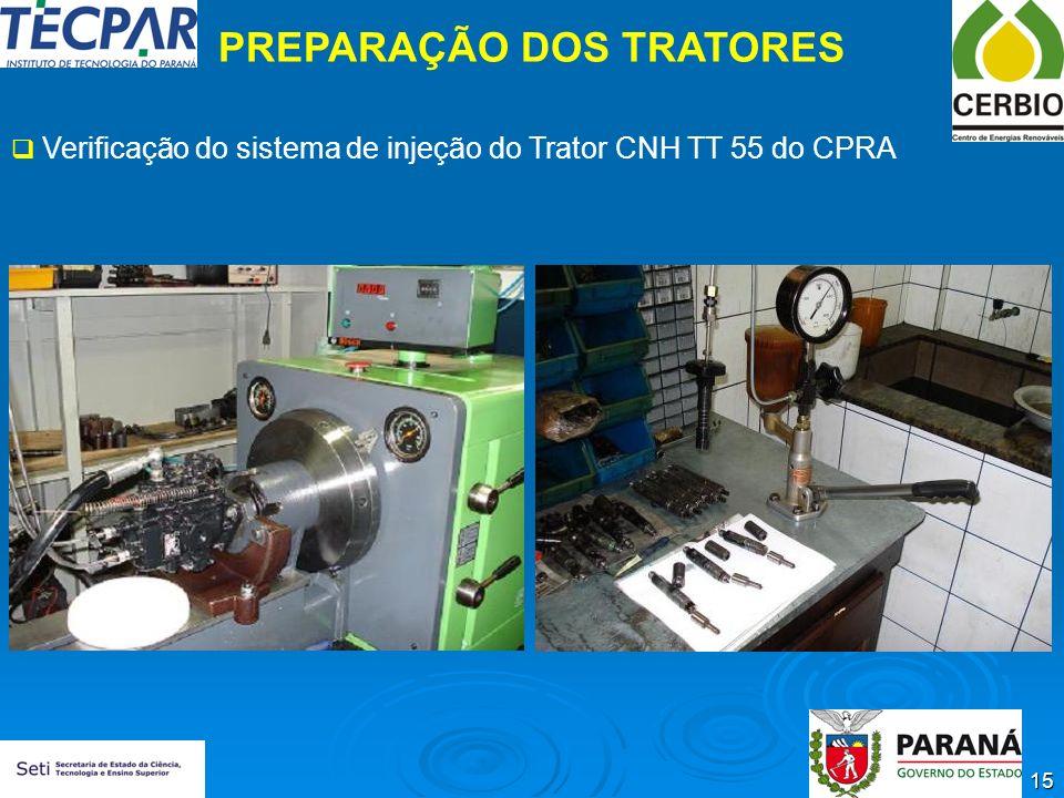 15 PREPARAÇÃO DOS TRATORES Verificação do sistema de injeção do Trator CNH TT 55 do CPRA
