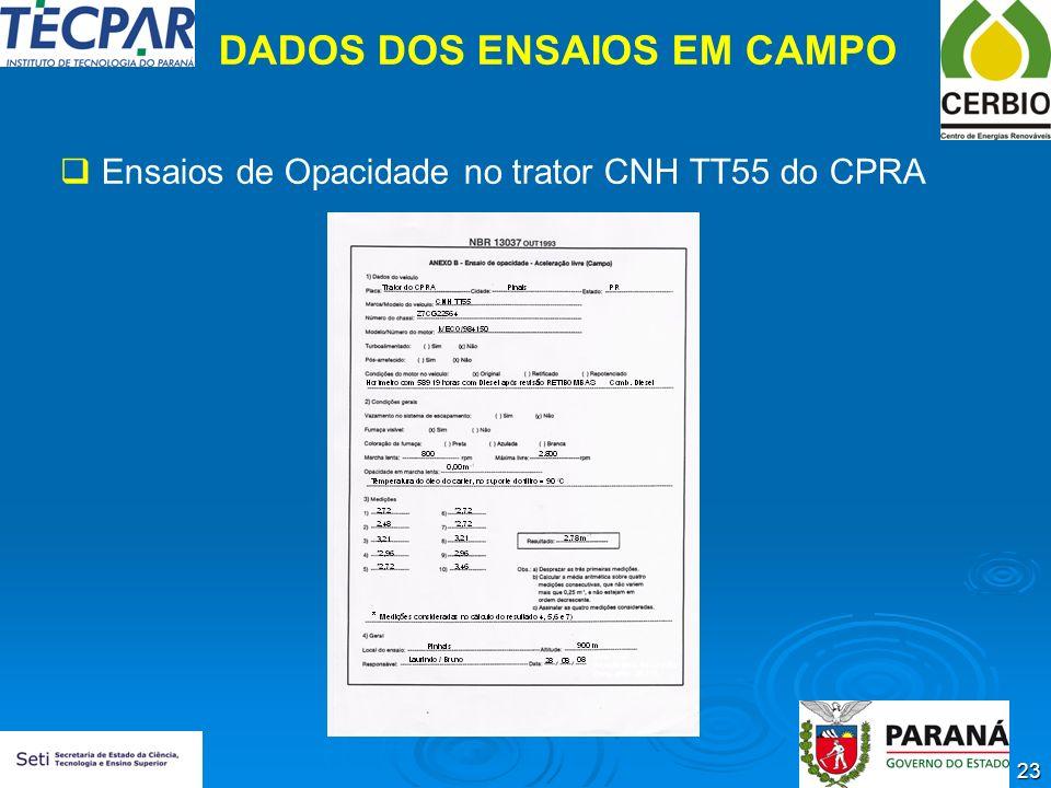 23 DADOS DOS ENSAIOS EM CAMPO Ensaios de Opacidade no trator CNH TT55 do CPRA