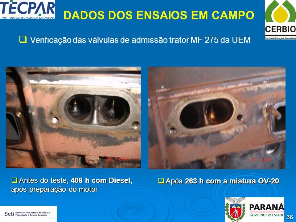 36 DADOS DOS ENSAIOS EM CAMPO Verificação das válvulas de admissão trator MF 275 da UEM Antes do teste, 408 h com Diesel, após preparação do motor Ant