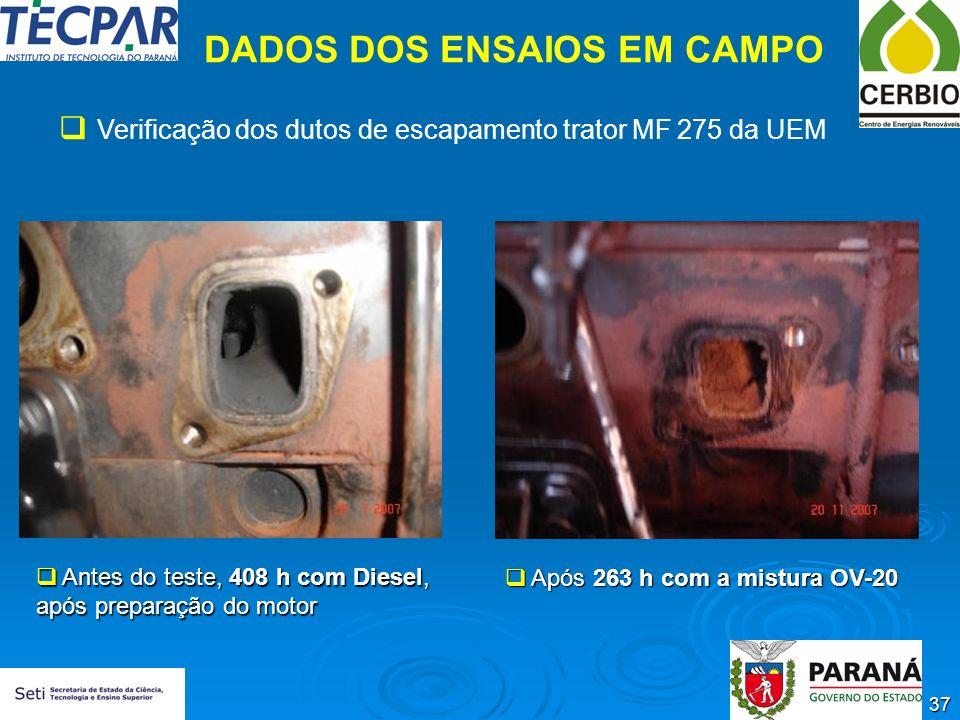 37 DADOS DOS ENSAIOS EM CAMPO Verificação dos dutos de escapamento trator MF 275 da UEM Antes do teste, 408 h com Diesel, após preparação do motor Ant