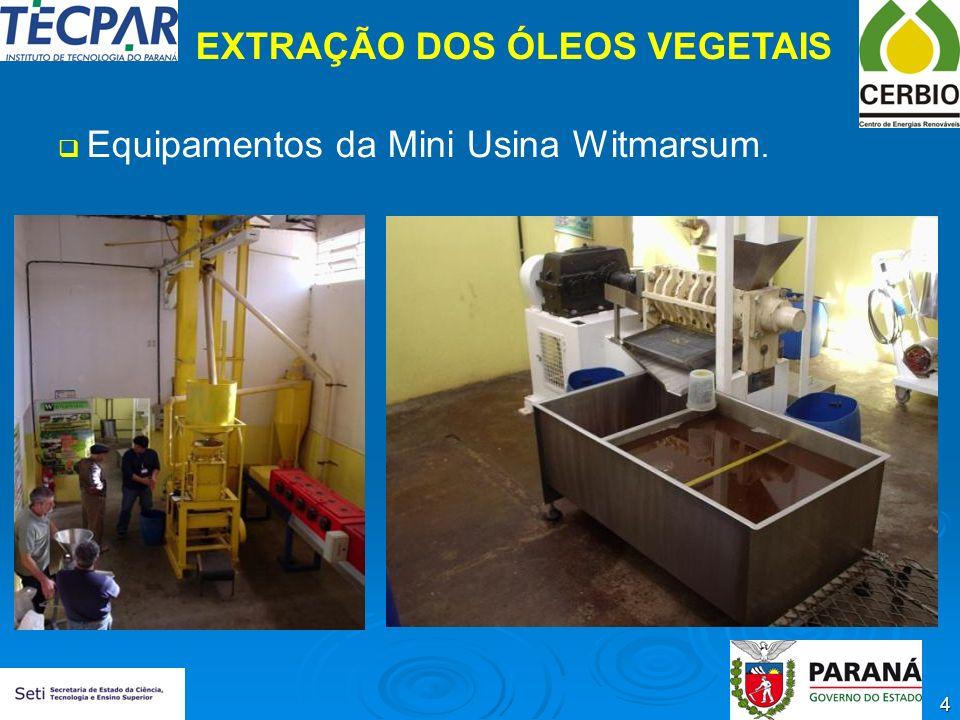 4 EXTRAÇÃO DOS ÓLEOS VEGETAIS Equipamentos da Mini Usina Witmarsum.