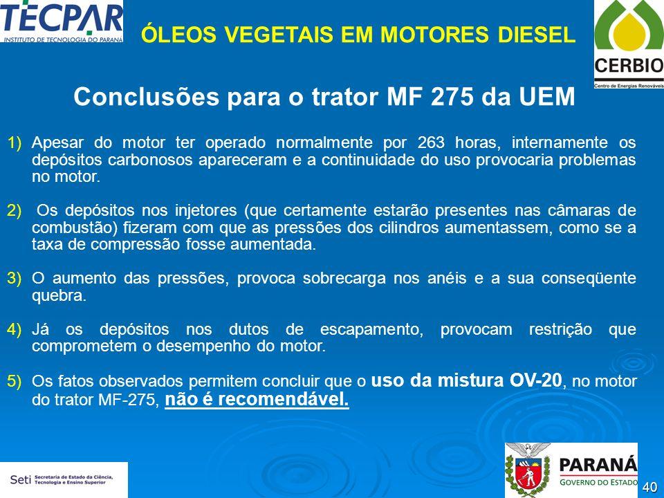 40 Conclusões para o trator MF 275 da UEM 1)Apesar do motor ter operado normalmente por 263 horas, internamente os depósitos carbonosos apareceram e a