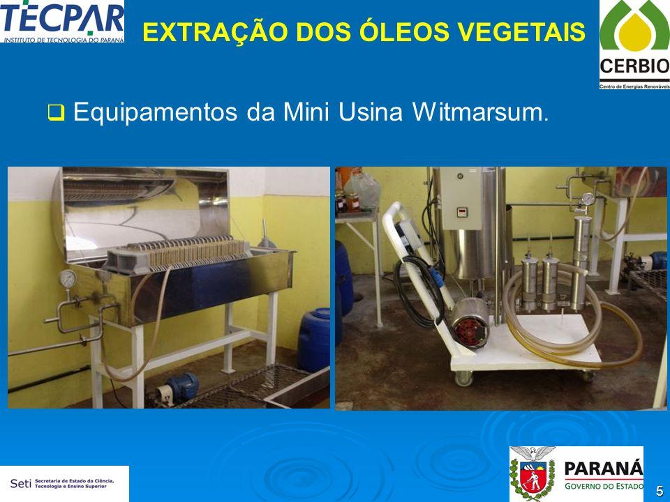 5 EXTRAÇÃO DOS ÓLEOS VEGETAIS Equipamentos da Mini Usina Witmarsum.