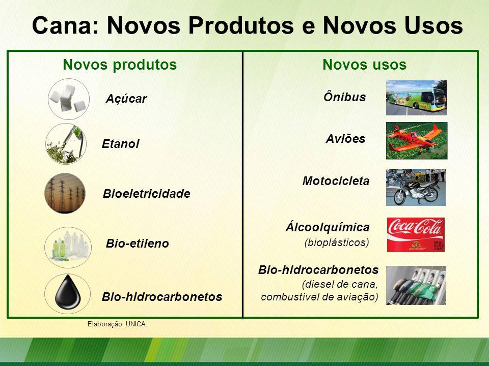 Cana: Novos Produtos e Novos Usos Bio-hidrocarbonetos (diesel de cana, combustível de aviação) Novos produtosNovos usos Açúcar Etanol Bioeletricidade