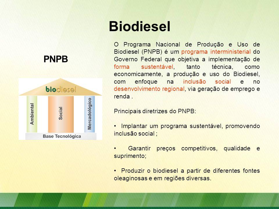 Biodiesel O Programa Nacional de Produção e Uso de Biodiesel (PNPB) é um programa interministerial do Governo Federal que objetiva a implementação de