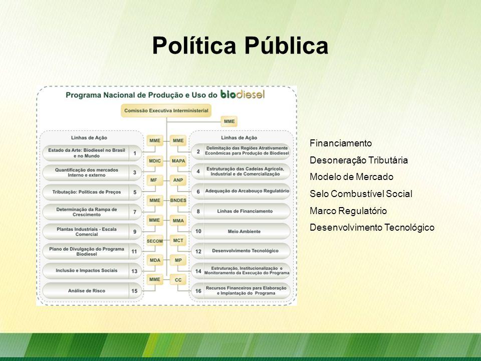 Política Pública Financiamento Desoneração Tributária Modelo de Mercado Selo Combustível Social Marco Regulatório Desenvolvimento Tecnológico