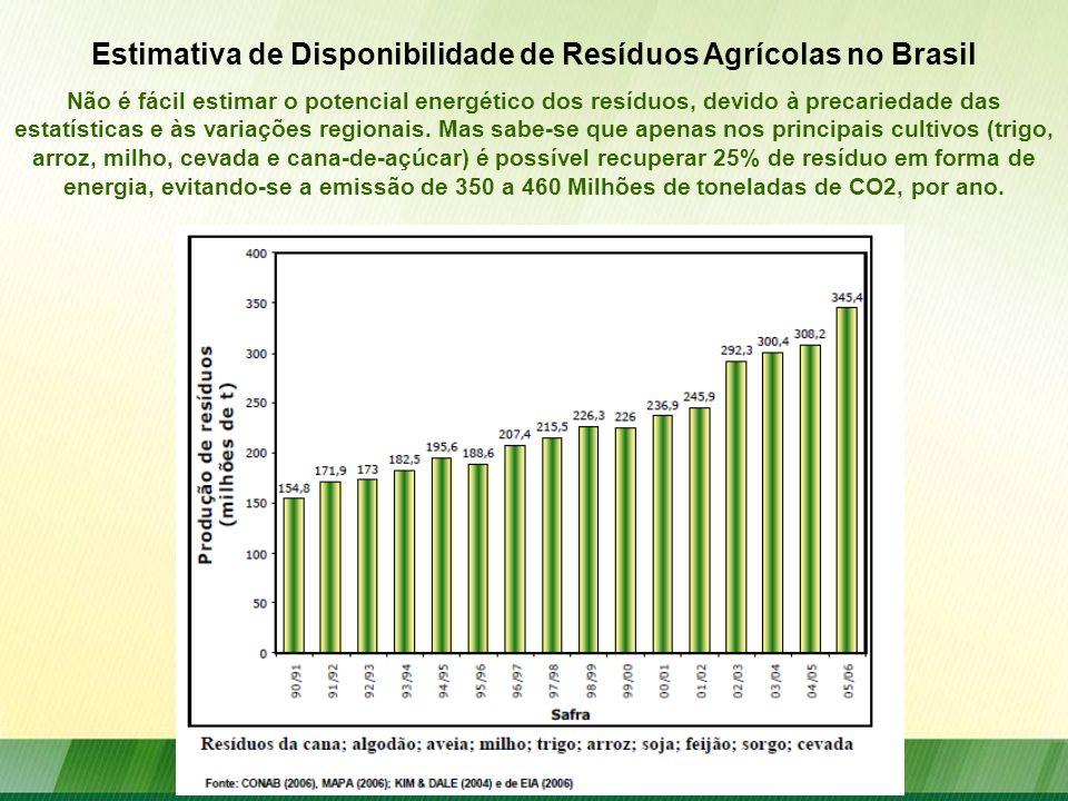Não é fácil estimar o potencial energético dos resíduos, devido à precariedade das estatísticas e às variações regionais. Mas sabe-se que apenas nos p