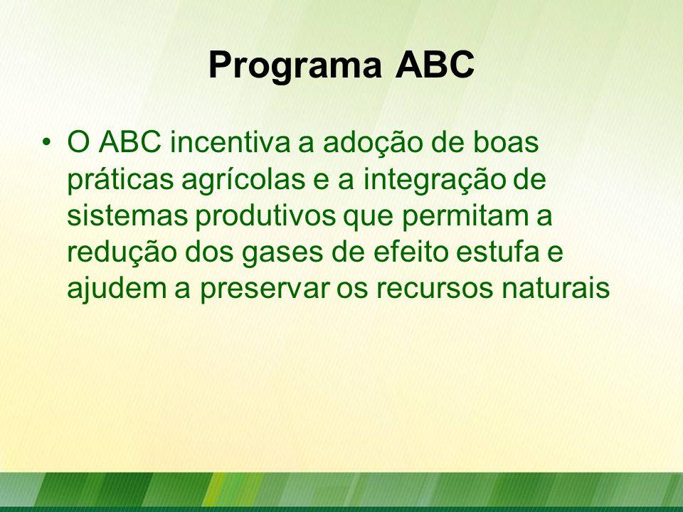 Programa ABC O ABC incentiva a adoção de boas práticas agrícolas e a integração de sistemas produtivos que permitam a redução dos gases de efeito estu