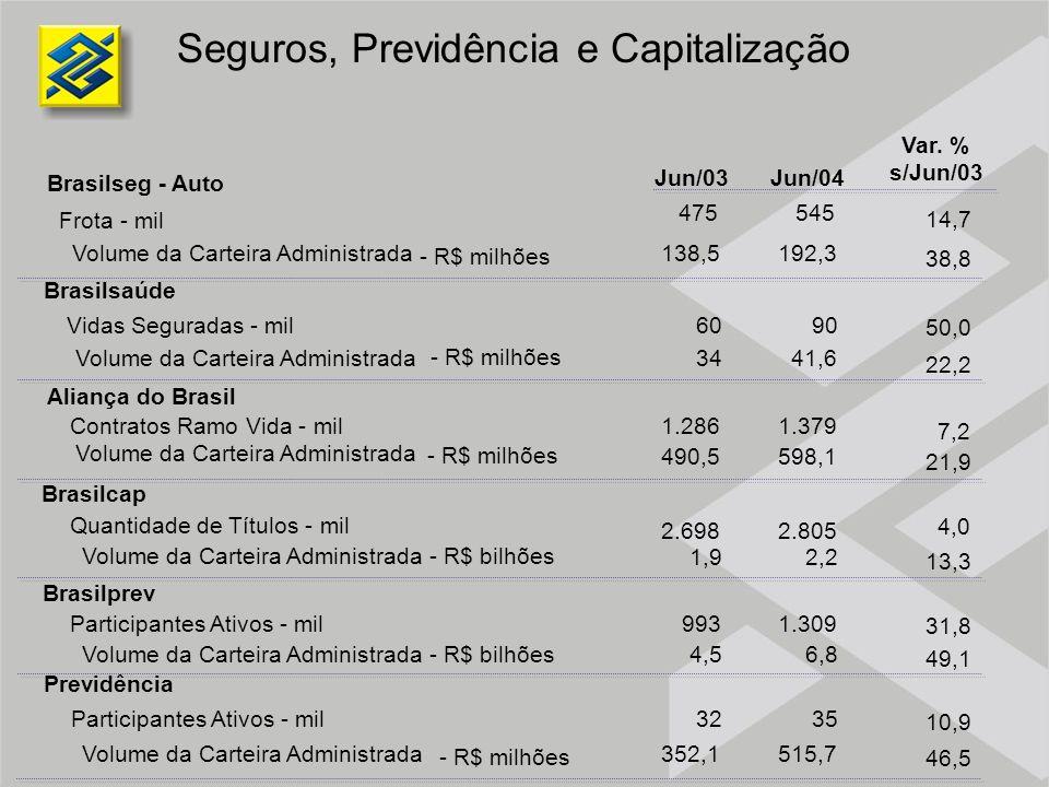 Jun/03Jun/04 Brasilseg - Auto Brasilsaúde Aliança do Brasil Contratos Ramo Vida - mil Volume da Carteira Administrada Brasilcap Quantidade de Títulos