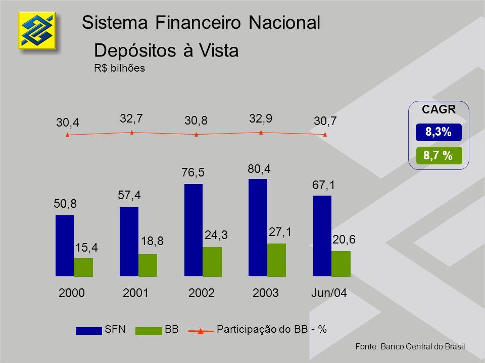 13,5 % 6,7 % CAGR Operações de Crédito R$ bilhões Inclui Operações de Crédito e Arrendamento Mercantil Sistema Financeiro Nacional Fonte: Banco Central do Brasil SFNBBParticipação do BB - % 298,9 314,8 362,7 408,9 375,2 38,7 42,5 54,7 60,2 69,6 13,5 15,1 17,0 16,0 12,9 2000200120022003Jun/04