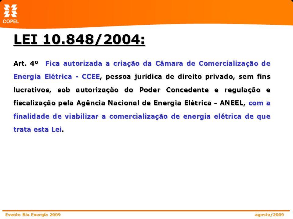 Evento Bio Energia 2009 agosto/2009 Art. 4º Fica autorizada a criação da Câmara de Comercialização de Energia Elétrica - CCEE, pessoa jurídica de dire