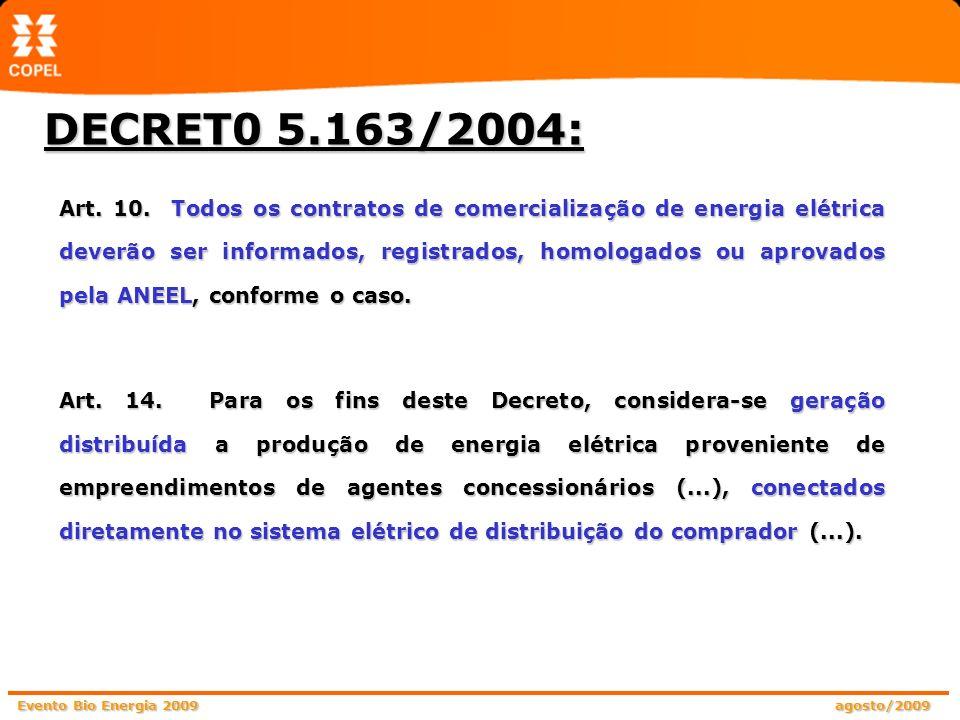 Evento Bio Energia 2009 agosto/2009 DECRET0 5.163/2004: Art. 10. Todos os contratos de comercialização de energia elétrica deverão ser informados, reg