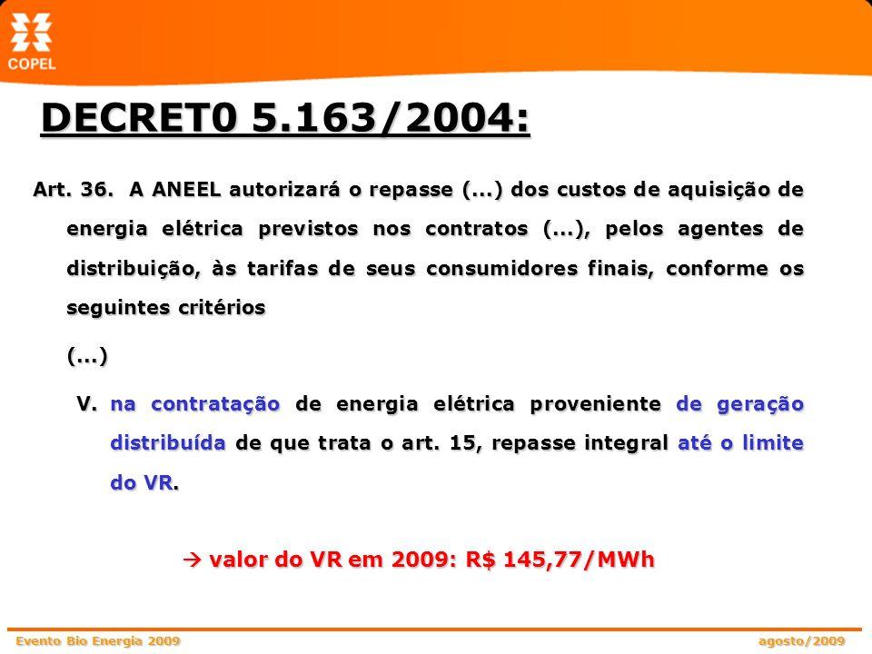 Evento Bio Energia 2009 agosto/2009 DECRET0 5.163/2004: Art. 36. A ANEEL autorizará o repasse (...) dos custos de aquisição de energia elétrica previs
