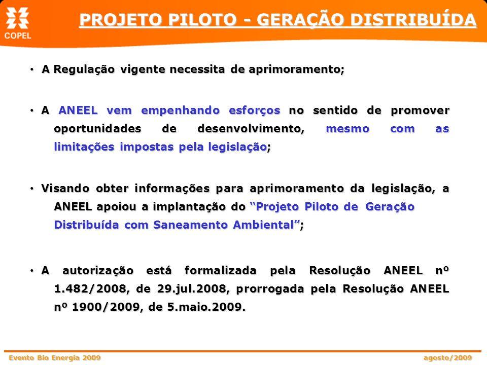 Evento Bio Energia 2009 agosto/2009 A Regulação vigente necessita de aprimoramento; A Regulação vigente necessita de aprimoramento; A ANEEL vem empenh