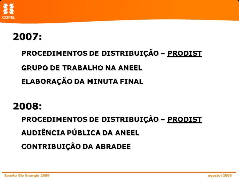 Evento Bio Energia 2009 agosto/2009 2007: PROCEDIMENTOS DE DISTRIBUIÇÃO – PRODIST GRUPO DE TRABALHO NA ANEEL ELABORAÇÃO DA MINUTA FINAL 2008: PROCEDIM