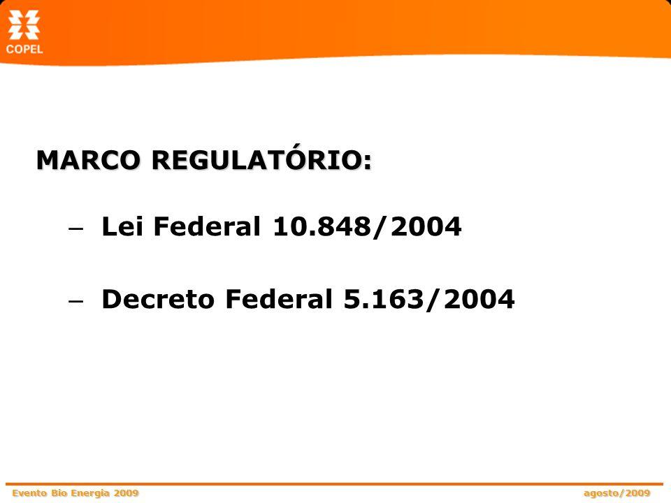 Evento Bio Energia 2009 agosto/2009 MODELO ANTERIOR: Planejamento indicativo Geração – investimentos insuficientes PPA – ausência de obrigação das distribuidoras crescimento do mercado x oferta de energia RACIONAMENTO (2001) BASES DO MARCO REGULATÓRIO: