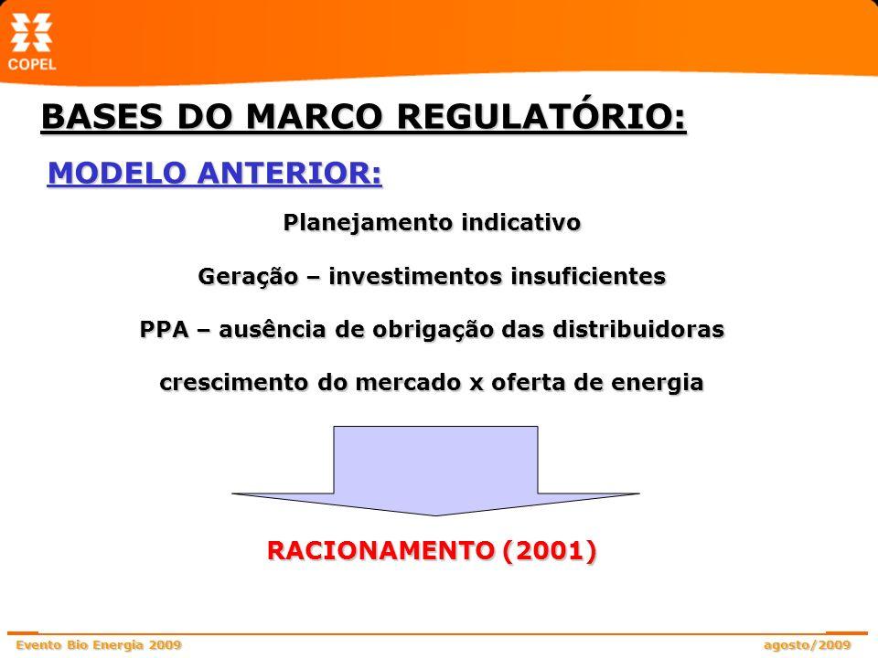 Evento Bio Energia 2009 agosto/2009 MODELO VIGENTE: Planejamento determinativo Crescimento do mercado Oferta de energia Distribuidoras: contratos regulados de longo prazo (ACR) atendimento a 100% do mercado (leilões de energia) Geradores: contratos de longo prazo (ACR) garantia de investimentos/PPAs garantidos nos leilões/ lastro contratual (venda de energia).
