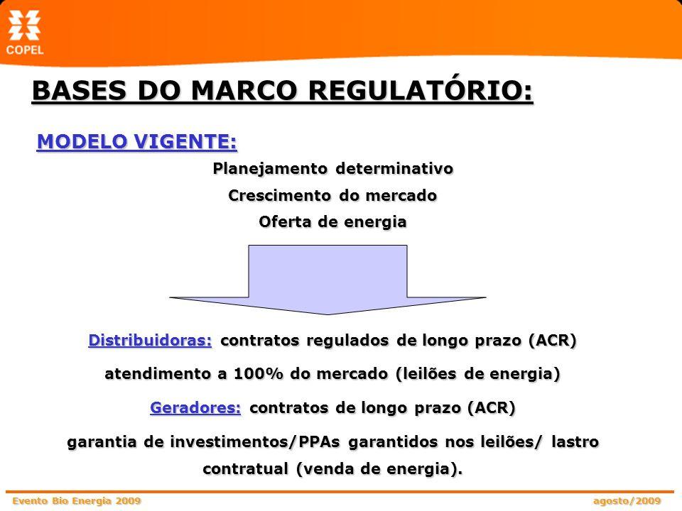 Evento Bio Energia 2009 agosto/2009 MODELO VIGENTE: Planejamento determinativo Crescimento do mercado Oferta de energia Distribuidoras: contratos regu