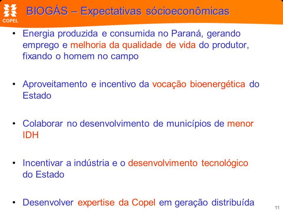 11 BIOGÁS – Expectativas sócioeconômicas Energia produzida e consumida no Paraná, gerando emprego e melhoria da qualidade de vida do produtor, fixando