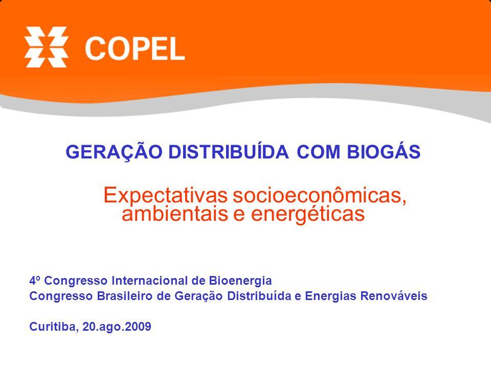 GERAÇÃO DISTRIBUÍDA COM BIOGÁS Expectativas socioeconômicas, ambientais e energéticas 4º Congresso Internacional de Bioenergia Congresso Brasileiro de