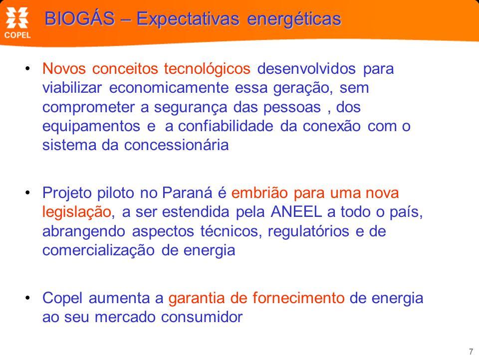 7 BIOGÁS – Expectativas energéticas Novos conceitos tecnológicos desenvolvidos para viabilizar economicamente essa geração, sem comprometer a seguranç