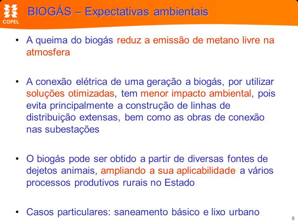 9 BIOGÁS – Expectativas ambientais A queima do biogás reduz a emissão de metano livre na atmosfera A conexão elétrica de uma geração a biogás, por uti