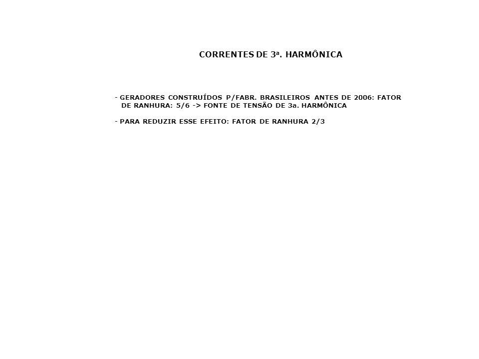 CORRENTES DE 3 a. HARMÔNICA - GERADORES CONSTRUÍDOS P/FABR. BRASILEIROS ANTES DE 2006: FATOR DE RANHURA: 5/6 -> FONTE DE TENSÃO DE 3a. HARMÔNICA - PAR