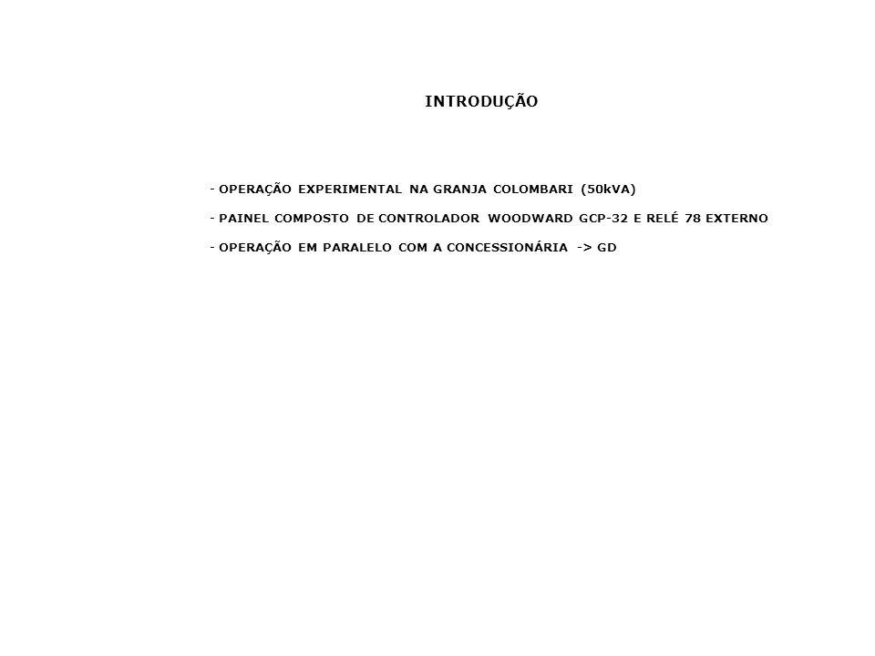 INTRODUÇÃO - OPERAÇÃO EXPERIMENTAL NA GRANJA COLOMBARI (50kVA) - PAINEL COMPOSTO DE CONTROLADOR WOODWARD GCP-32 E RELÉ 78 EXTERNO - OPERAÇÃO EM PARALE