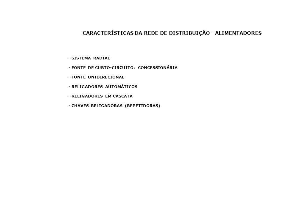 CARACTERÍSTICAS DA REDE DE DISTRIBUIÇÃO - ALIMENTADORES - SISTEMA RADIAL - FONTE DE CURTO-CIRCUITO: CONCESSIONÁRIA - FONTE UNIDIRECIONAL - RELIGADORES