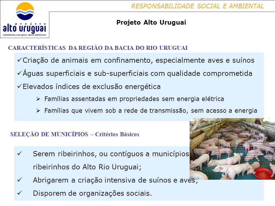 RESPONSABILIDADE SOCIAL E AMBIENTAL CARACTERÍSTICAS DA REGIÃO DA BACIA DO RIO URUGUAI Criação de animais em confinamento, especialmente aves e suínos Águas superficiais e sub-superficiais com qualidade comprometida Elevados índices de exclusão energética Famílias assentadas em propriedades sem energia elétrica Famílias que vivem sob a rede de transmissão, sem acesso a energia Projeto Alto Uruguai SELEÇÃO DE MUNICÍPIOS – Critérios Básicos Serem ribeirinhos, ou contíguos a municípios ribeirinhos do Alto Rio Uruguai; Abrigarem a criação intensiva de suínos e aves; Disporem de organizações sociais.
