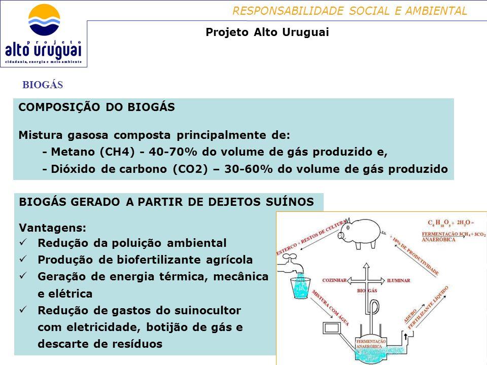RESPONSABILIDADE SOCIAL E AMBIENTAL BIOGÁS Projeto Alto Uruguai COMPOSIÇÃO DO BIOGÁS Mistura gasosa composta principalmente de: - Metano (CH4) - 40-70% do volume de gás produzido e, - Dióxido de carbono (CO2) – 30-60% do volume de gás produzido BIOGÁS GERADO A PARTIR DE DEJETOS SUÍNOS Vantagens: Redução da poluição ambiental Produção de biofertilizante agrícola Geração de energia térmica, mecânica e elétrica Redução de gastos do suinocultor com eletricidade, botijão de gás e descarte de resíduos