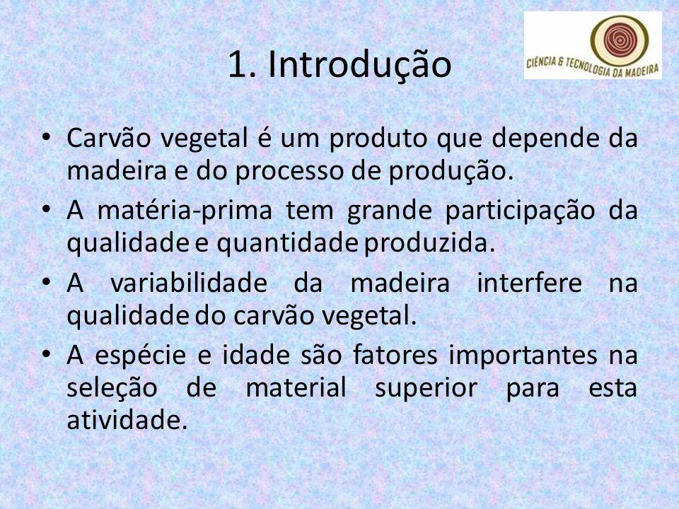 1. Introdução Carvão vegetal é um produto que depende da madeira e do processo de produção. A matéria-prima tem grande participação da qualidade e qua