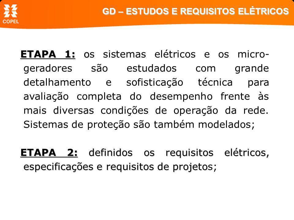 ETAPA 1: o ETAPA 1: os sistemas elétricos e os micro- geradores são estudados com grande detalhamento e sofisticação técnica para avaliação completa d