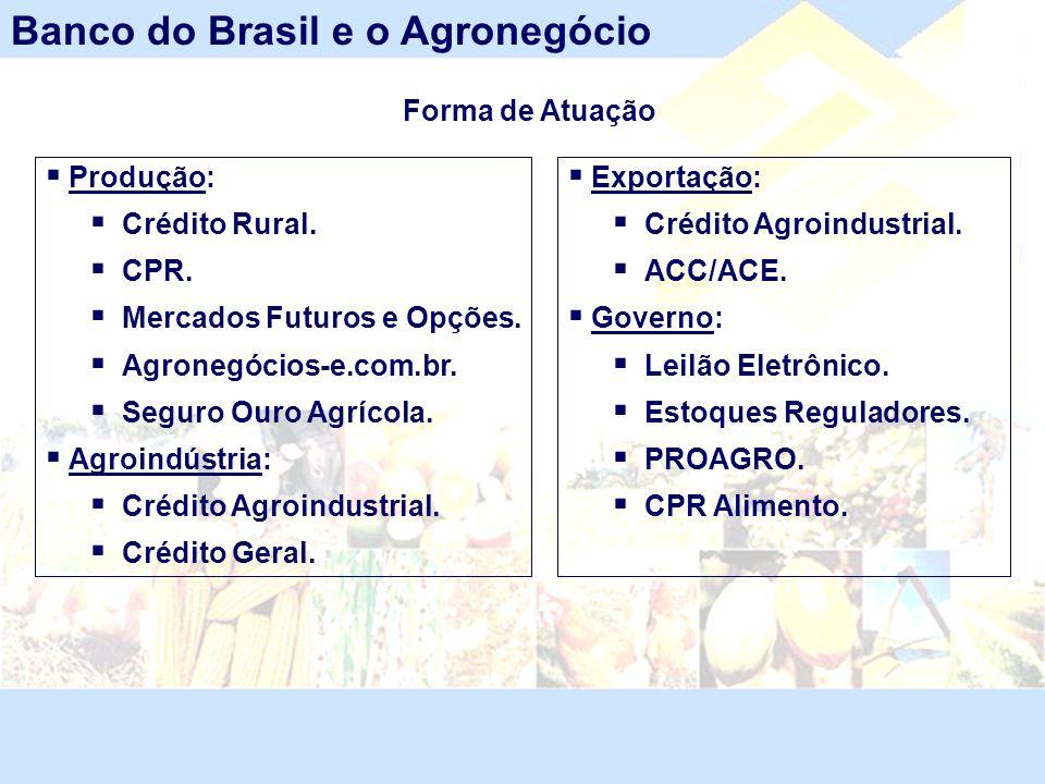 Produção: Crédito Rural. CPR. Mercados Futuros e Opções. Agronegócios-e.com.br. Seguro Ouro Agrícola. Agroindústria: Crédito Agroindustrial. Crédito G