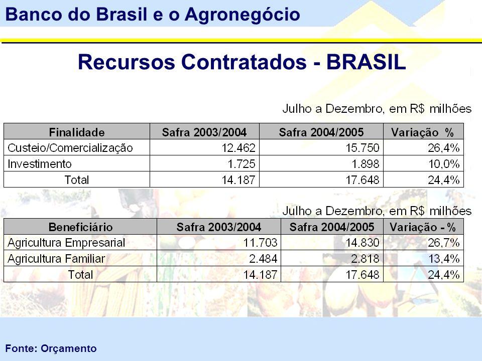 Recursos Contratados - BRASIL Banco do Brasil e o Agronegócio Fonte: Orçamento