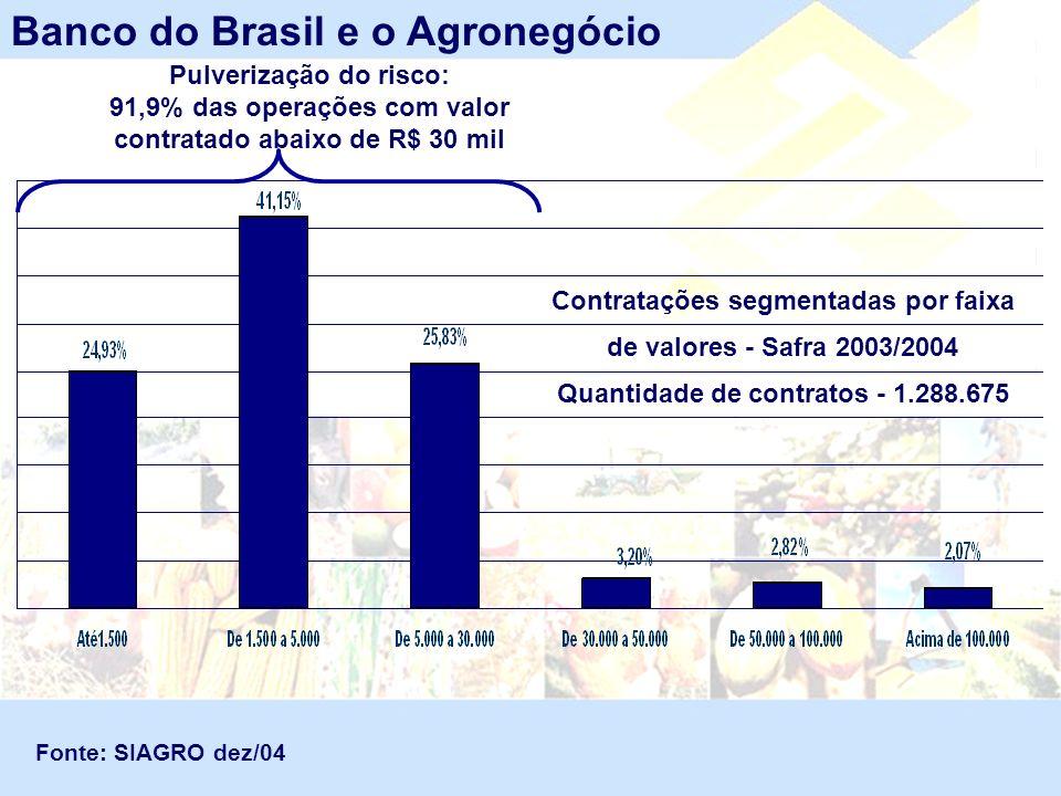 Contratações segmentadas por faixa de valores - Safra 2003/2004 Quantidade de contratos - 1.288.675 Banco do Brasil e o Agronegócio Fonte: SIAGRO dez/
