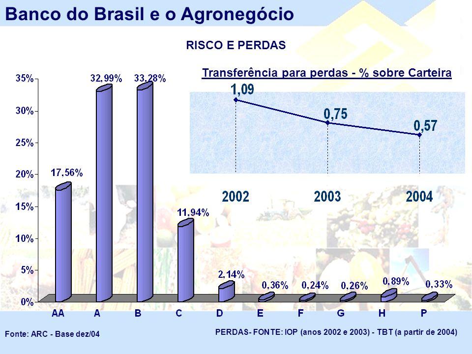 RISCO E PERDAS Banco do Brasil e o Agronegócio Fonte: ARC - Base dez/04 Transferência para perdas - % sobre Carteira PERDAS- FONTE: IOP (anos 2002 e 2
