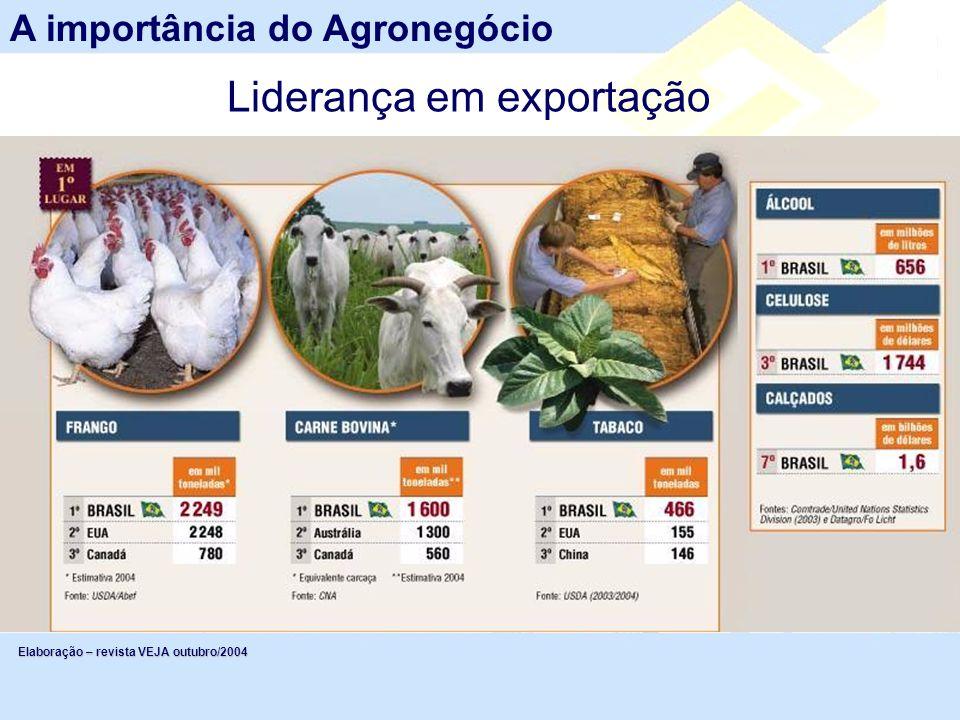 A importância do Agronegócio Elaboração – revista VEJA outubro/2004 Liderança em exportação