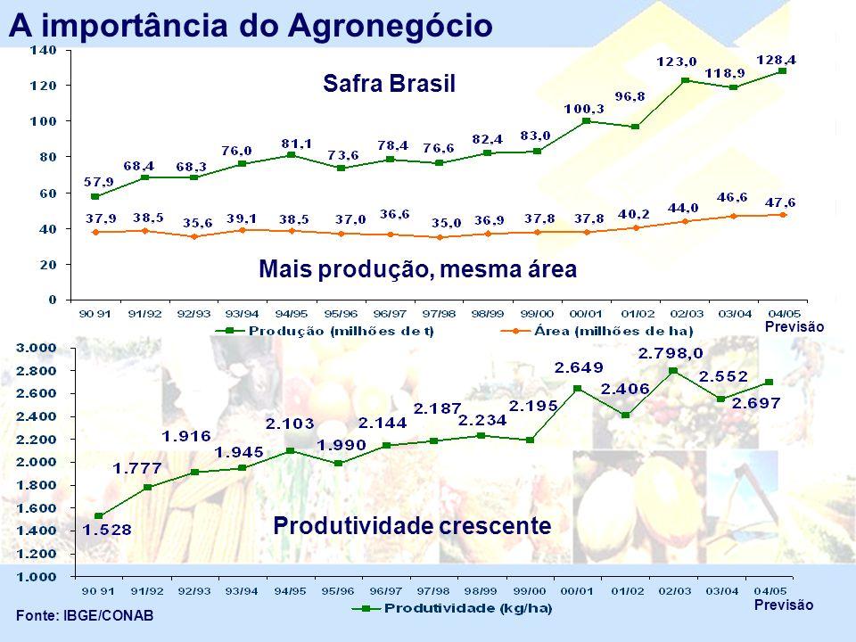 Produção Brasileira de carnes Fonte: MAPA Em mil toneladas A importância do Agronegócio 2º produtor mundial de frango e carne bovina.