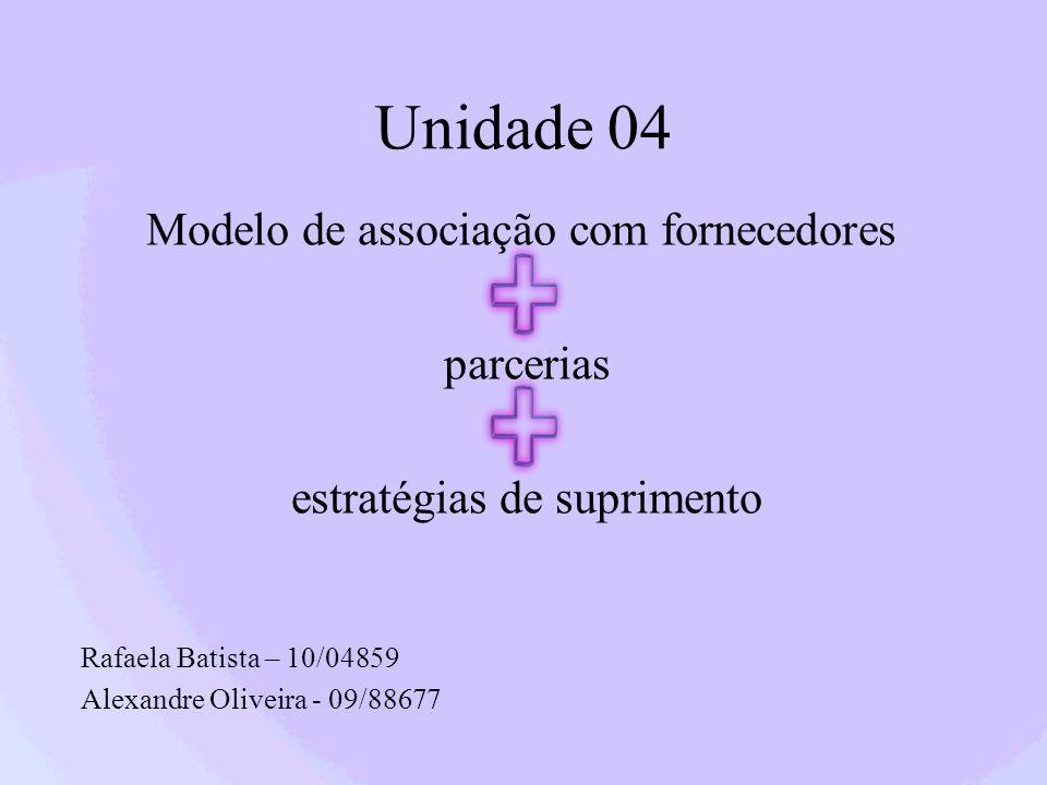 Unidade 04 Modelo de associação com fornecedores parcerias estratégias de suprimento Rafaela Batista – 10/04859 Alexandre Oliveira - 09/88677