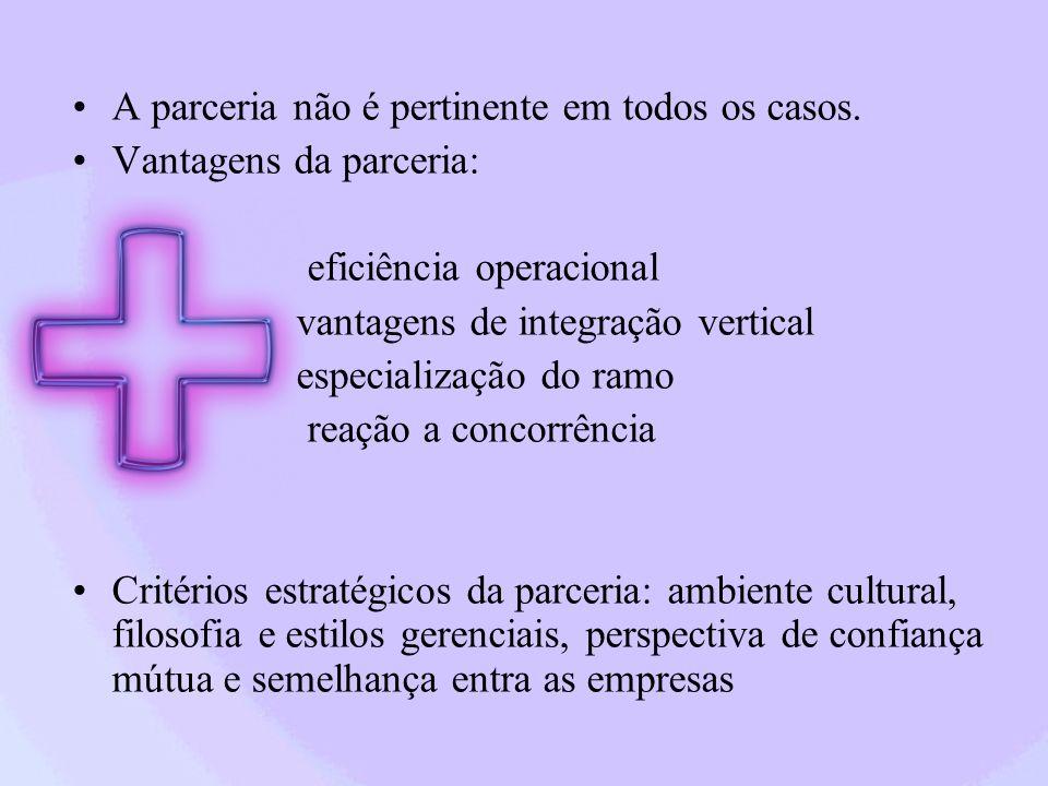 A parceria não é pertinente em todos os casos. Vantagens da parceria: eficiência operacional vantagens de integração vertical especialização do ramo r