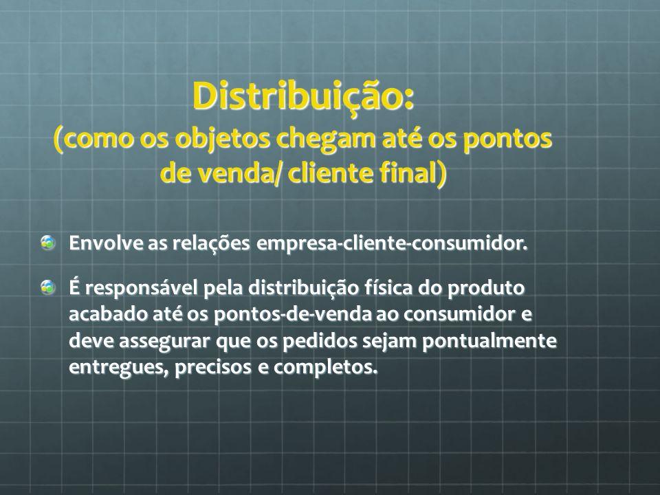 Distribuição: (como os objetos chegam até os pontos de venda/ cliente final) Envolve as relações empresa-cliente-consumidor. É responsável pela distri