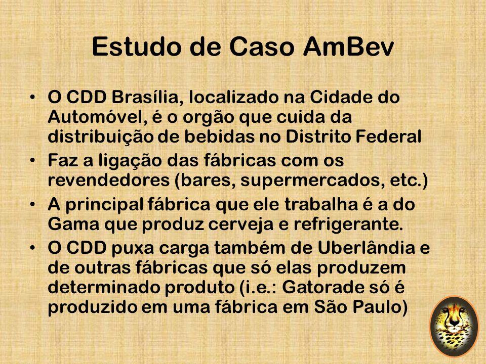 Estudo de Caso AmBev O CDD Brasília, localizado na Cidade do Automóvel, é o orgão que cuida da distribuição de bebidas no Distrito Federal Faz a ligaç