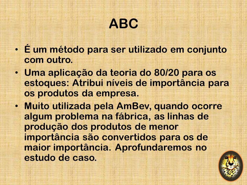 ABC É um método para ser utilizado em conjunto com outro. Uma aplicação da teoria do 80/20 para os estoques: Atribui níveis de importância para os pro