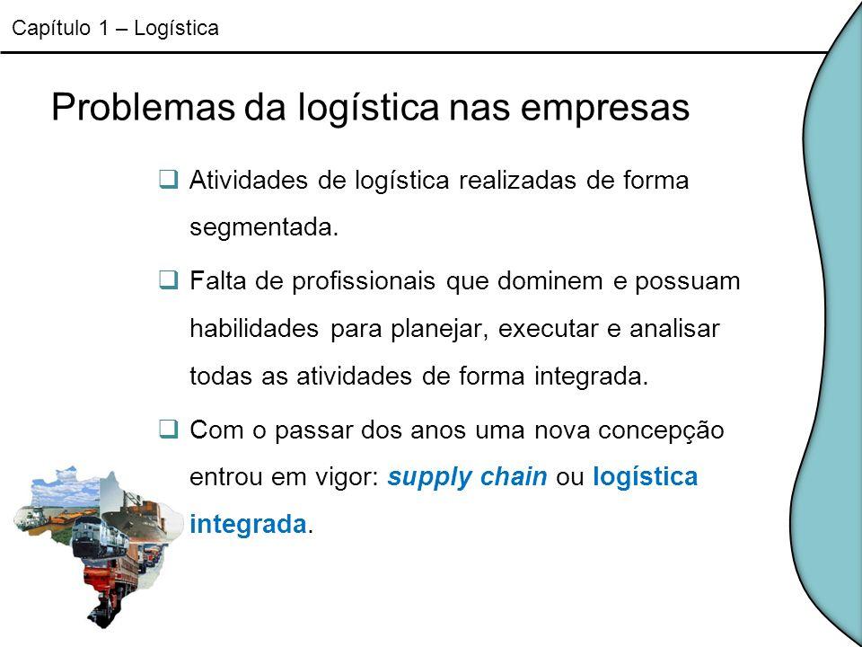 Problemas da logística nas empresas Atividades de logística realizadas de forma segmentada. Falta de profissionais que dominem e possuam habilidades p