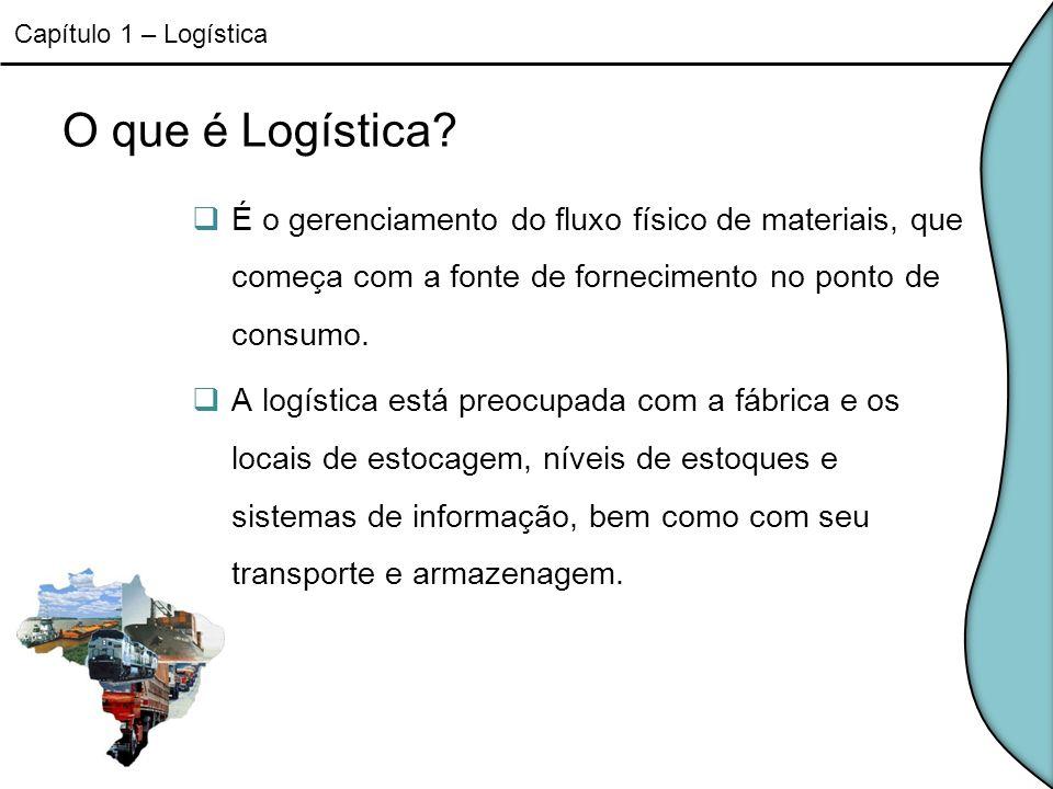 O que é Logística? É o gerenciamento do fluxo físico de materiais, que começa com a fonte de fornecimento no ponto de consumo. A logística está preocu