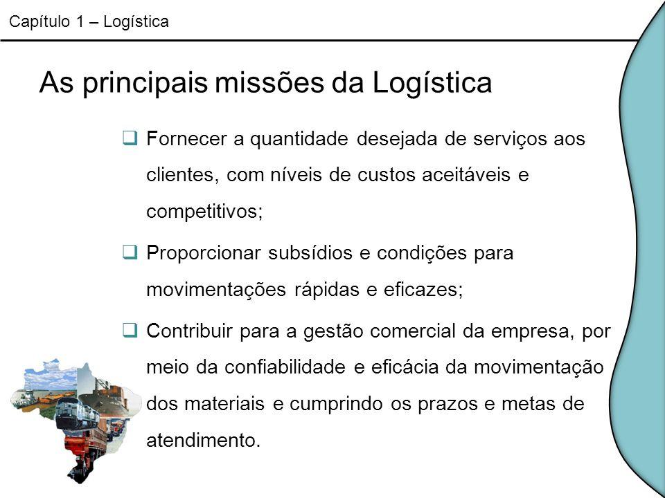 As principais missões da Logística Fornecer a quantidade desejada de serviços aos clientes, com níveis de custos aceitáveis e competitivos; Proporcion