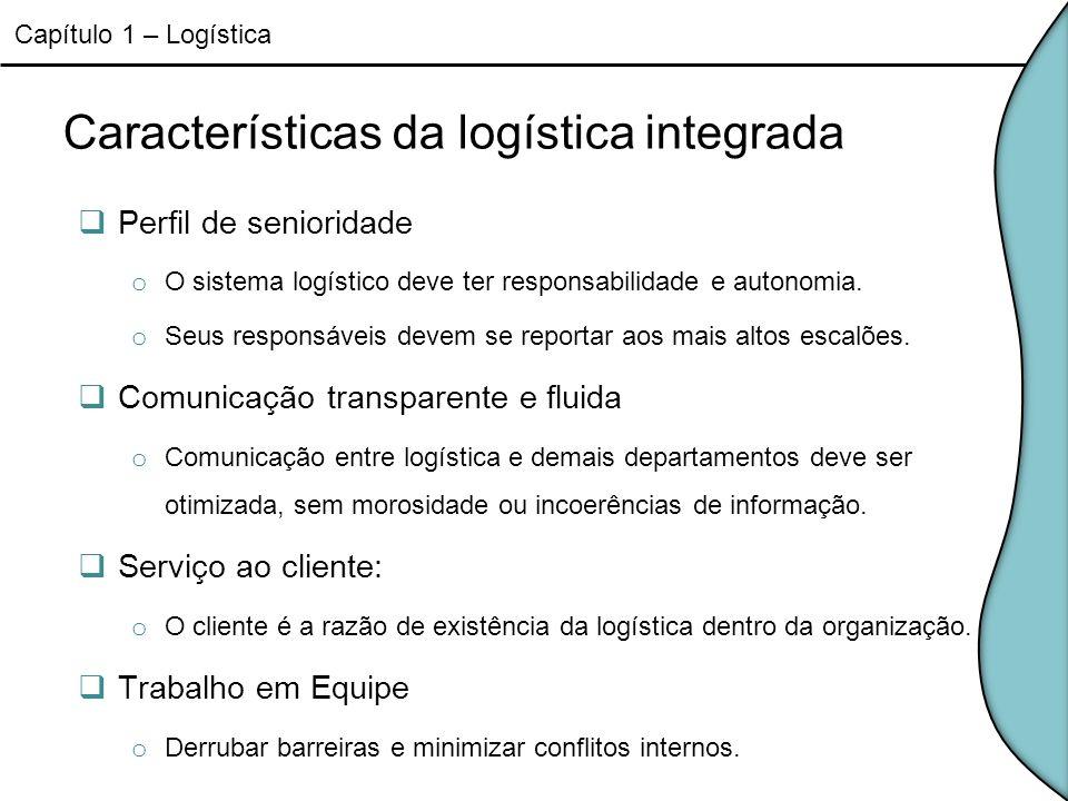 Características da logística integrada Perfil de senioridade o O sistema logístico deve ter responsabilidade e autonomia. o Seus responsáveis devem se
