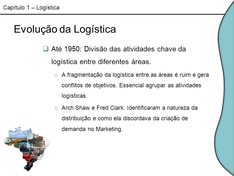Evolução da Logística Até 1950: Divisão das atividades chave da logística entre diferentes áreas. o A fragmentação da logística entre as áreas é ruim